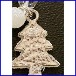 CHANEL Necklace Silver & White Beads Pearls Christmas Tree CC Logo Charms 03A