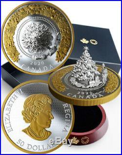 CHRISTMAS TRAIN Tree 5 Oz Silver Coin 50$. Canada 2020