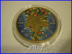 Canada $5 Maple Leaf Christmas Tree 1oz Gold Plated 2016 Silver Coin