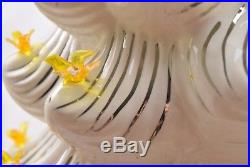 Ceramic White Christmas Tree Gold Birds Silver Gold Accents 32