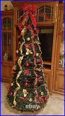 Christmas 6' Pop Up FULLY DECORATED GOLD, SILVER Easy Set Up Tree 350 Lites NEW