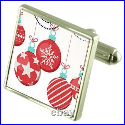 Christmas Tree Bauble Sterling Silver Cufflinks Optional Engraved Box