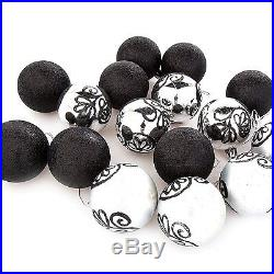 Christmas Tree Hanging Bauble Decorations (60mm) 16 x Glitter Black / Silver