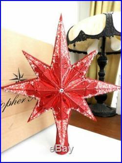 Christopher Radko STELLAR RED RUBY Star Tree Topper Ornament MINT / BOX