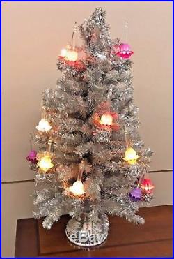 Christopher Radko Vintage Shiny Brite Bubble Light Silver Christmas Tree Veryhtf