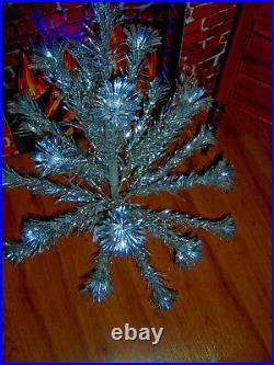 Collector's Vtg 3 Ft Sharp Retro Silver Sprakler Stainless Aluminum Xmas Tree
