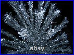 Collector's Vtg 6 Ft Retro Silver Evergleam Frosty Fountain Aluminum Xmas Tree