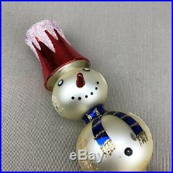 Czech Snowman Glass Tree Topper Vintage Silvered Mercury Mica Snowcaps