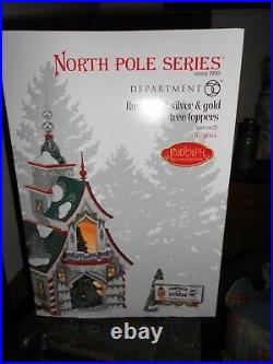 DEPT 56 NORTH POLE Village RUDOLPH'S SILVER & GOLD TREE TOPPERS NIB