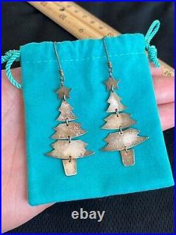Designer James Avery 925 Sterling Silver Dangle Christmas Trees Winter Earrings