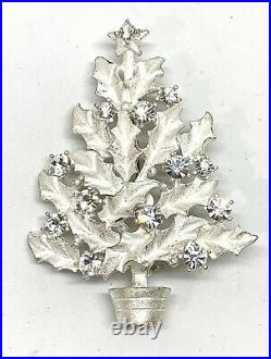 EISENBERG ICE Silver White Tone Holly Christmas Tree Pin Signed 8