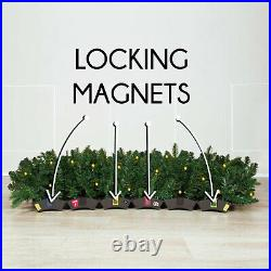 Easy Treezy 7.5 Foot Pre-Lit Douglas Fir Christmas Tree, Silver/Gold (Used)