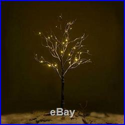 Ecolinear Prelit Snow Tree 48 LEDs Light Silver Twig Warm White Branches 4 Home