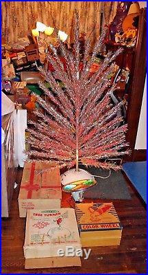 Evergleam 6 Silver Aluminum Christmas Tree Color Wheel Tree Turner