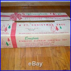 Evergleam Stainless Aluminum Christmas Tree & Revolving Stand Silver Musical 8ft