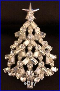 Exquisite & Rare Nolan Miller Silver Tone and Crystal Christmas Tree Brooch Pin