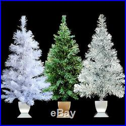 Fiber Optic Christmas Tree / Silver Tinsel / Evergreen / White / Your Choice