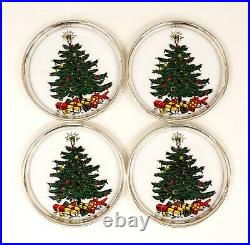 Four 1950s Gorham Sterling Silver Rimmed Enamel Christmas Tree Theme Coasters
