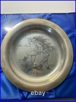 Franklin Mint 1970 Rockwell Christmas Plate Sterling Silver Bringing Home Tree