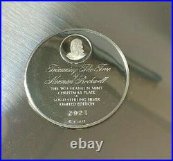 Franklin Mint 1973 Rockwell 6.5oz Sterling Silver Christmas Plate Trimming Tree