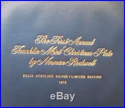 Franklin MintSterling Silver Norman Rockwell Christmas Tree Plate-1970-1st Edit