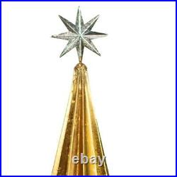 Gold Metal Christmas Tree Set 2 Silver Star Floor Festive Standing Decoration