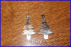 HTF Beautiful James Avery sterling silver long dangle Christmas tree earrings 3