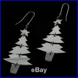 HTF James Avery Rare Retired Sterling Silver CHRISTMAS TREE Dangle Earrings