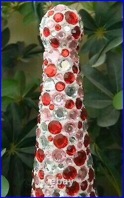 Handmade Christmas Or Valentines Day Rhinestones Tree Centerpiece Holiday Decor