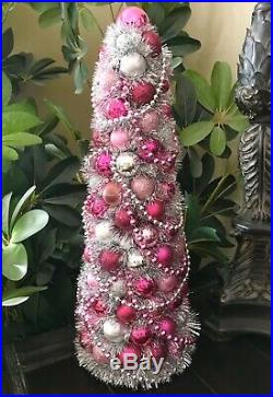 Handmade Shabby Chic Pink Fantasy Christmas Tree Centerpiece Holiday Decor