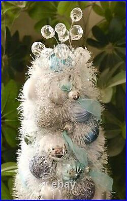 Handmade Unique Blue/silver Christmas Tree Centerpiece Holiday Decor 21