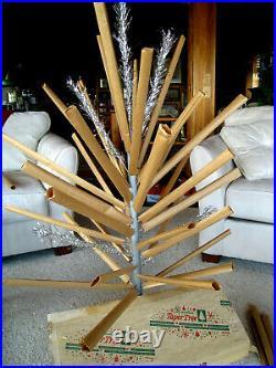 Htf Vtg 4 Ft Retro Silver Taper Tree Aluminum Xmas Tree USA