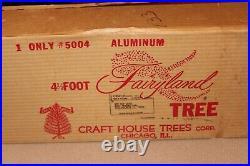 In ORIGINAL BOX 4'. 5 CRAFT HOUSE SILVER ALUMINUM TREE MADE IN USA ALL ORIGINAL