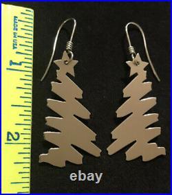 James Avery Christmas Tree Ear Hook Earrings Sterling Silver Retired