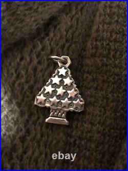 James Avery Retired Sterling Silver Christmas Tree With Stars Charm
