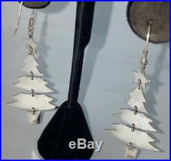 James Avery Sterling Silver Dangle Christmas Trees Earrings Retired