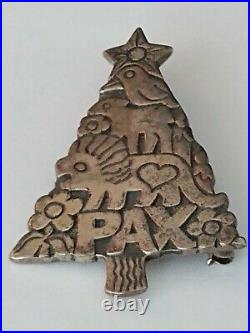 James Avery Sterling Silver PAX Christmas Tree Pendant Pin Brooch 9.7g Vintage