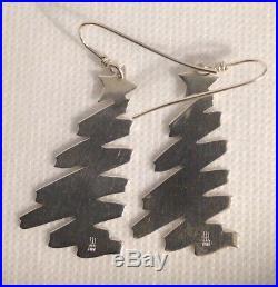 James Avery Sterling Silver Star Topped Christmas Tree Earrings Hook Drop Dangle
