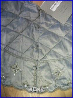 Kim Seybert Beaded Christmas Tree Skirt Silver 62 Nwt