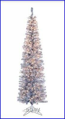 Kurt Adler 7 Pre-Lit Silver Tinsel Winchester Pine Pencil Slim Tree New
