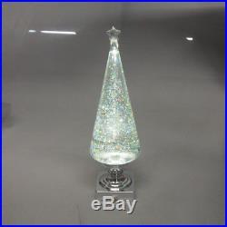 LED Acrylic Lava Lamp Christmas Tree Holiday Decor, Clear/Silver, 14-Inch