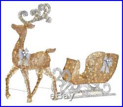 LED Lighted Yard Santas Sleigh Reindeer Gold Christmas Outdoor Ornament Decor