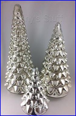 Large Silver Pottery Barn Lit Mercury Glass Tree Christmas Centerpiece NIB