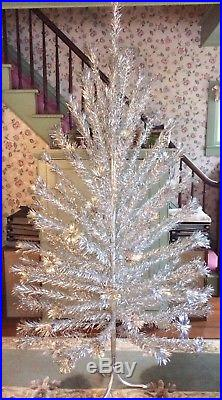 Large Vtg 1950s 60s Pom Pom 7' Silver Aluminum Christmas Tree Mid-Century Retro