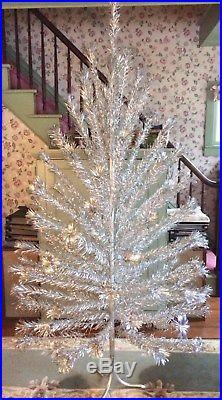 Large Vtg 1950s 60s Pom Pom Silver Aluminum 7' Christmas Tree Mid-Century Retro