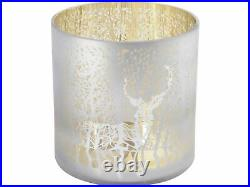 Libra Reindeer And Tree Frosted Gold Hurricane Candle Holder Christmas Deer