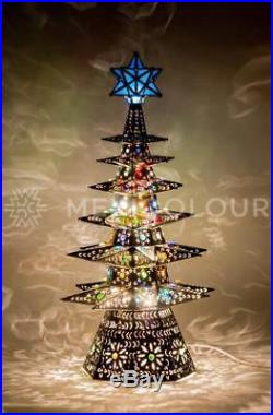Lighted Christmas Tree Pierced Metal Tin Stained Colored
