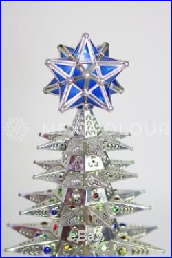 Lighted Christmas Tree Pierced Metal Tin Stained Colored Glass Marbles Mexico