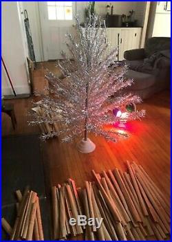 Lot Set VINTAGE Aluminum Silver Christmas X Mas Tree & Color Wheel