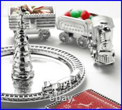 Mariposa Christmas Tree & Train Server Platter Holiday SIlver NIB 1027